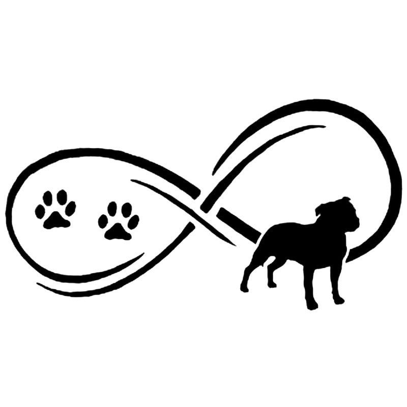 17 7 9 5cm Staffy Dog Paw Print Vinyl Decal Reflective Car