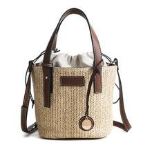 2019 New Ladies Shoulder Bags Fashion Woven Straw Handbag Simple Portable Bucket Small Bag Bohemia Summer Beach