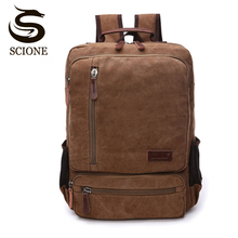 Vintage Canvas Backpack Men Large Capacity Travel Shoulder Bag High Quality Fashion Students Bag Laptop Male notebook Backpack