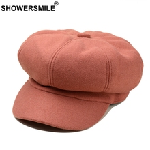 SHOWERSMILE Womens Newsboy Caps Beret Solid Wool Octagonal Cap Ladies Pink Painters Hat Female Autumn Colorful French Artist