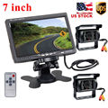 "Dual Backup Cameras & 7"" LCD Rear View Monitor For Bus Truck RV Campe, 18 IR LED Night Vision Waterproof Rearview Reverse Camera"