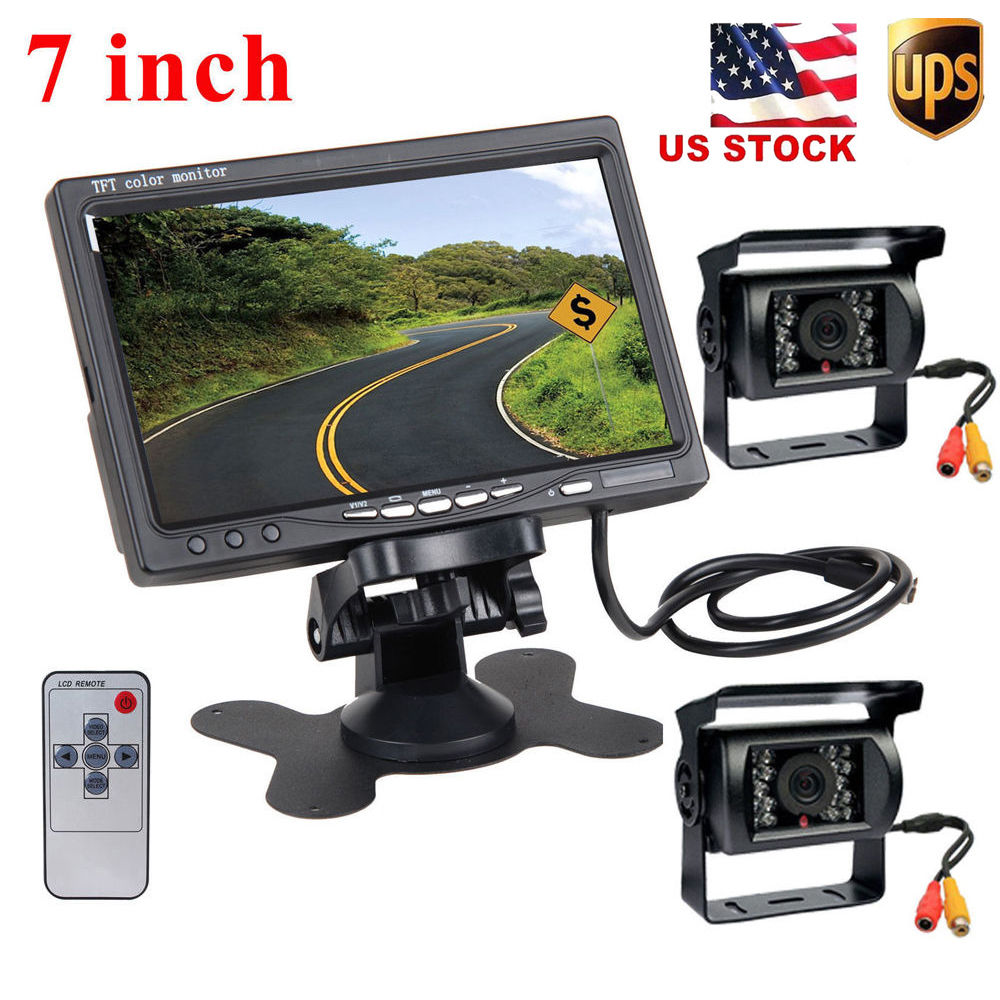 Podofo Dual Backup Cameras & 7 LCD Rear View Monitor for Bus Truck RV Campe 18 IR LED Night Vision Waterproof Reverse Camera diysecur 4pin dc12v 24v 7 inch 4 split quad lcd screen display rear view video security monitor for car truck bus cctv camera