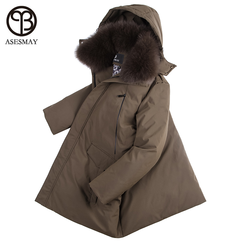 Asesmay 2017 new arrival men down jacket in winter high quality mens down coat with natural fox fur thick warm parka M-5XL size