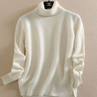 Autumn And Winter Women S Pure Cashmere Turtleneck Sweater Female Loose Pullover Sweater Thickening Solid Knitted