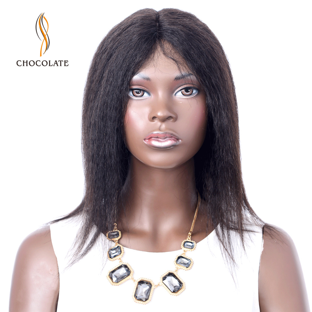 Short T Shape Lace Human Hair Wigs For Black Women Natural Color Yaki Straight Brazilian Remy Hair Middle Part Lace Hairline