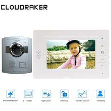CLOUDRAKER  Video Door Phone Door Bell Intercom System 1x 7Inch Monitor with 1x Silver Doorbell Video Intercom Unlock цена 2017