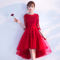 3/4 Sleeve Elegant Women Evening Dress Red China Toast Clothes Lace Appliques Formal Party Dresses Prom Gown Robe De Soiree