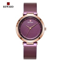 Creative Watch Women Watches Ladies Steel Mesh Women's Bracelet Watches Gold Purple Female Clock Relogio Feminino Montre Femme