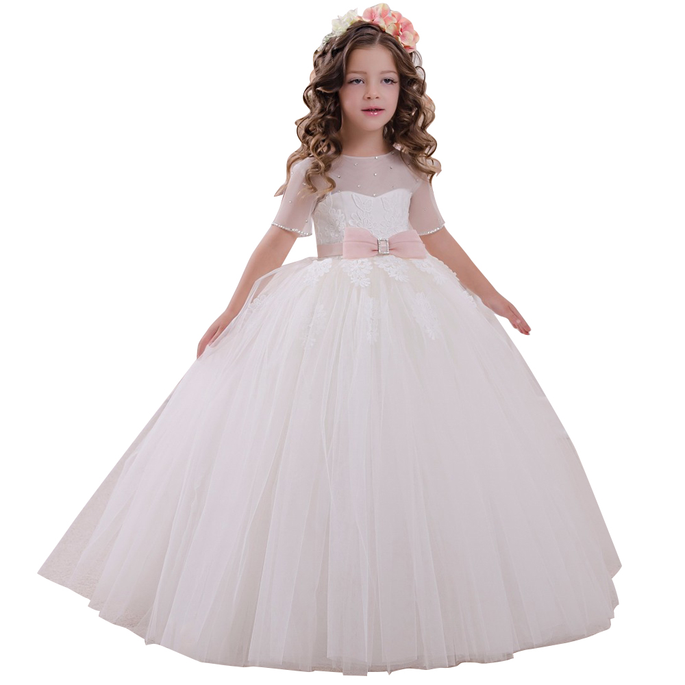 little girls dress with short sleeves mesh kids ball gowns pink bow vestido nina long children fancy dress for girls 2-12 years pink lace up design cold shoulder long sleeves hoodie dress