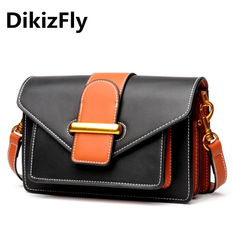 DikizFly High Quality Split Leather Bags Women Messenger Bag Small Flap Handbags Panelled Women Bags Shoulder