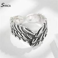 Genuine 100 925 Sterling Silver Fine Jewelry Vintage Domineering Wings Thai Silver Open Men Rings Silver