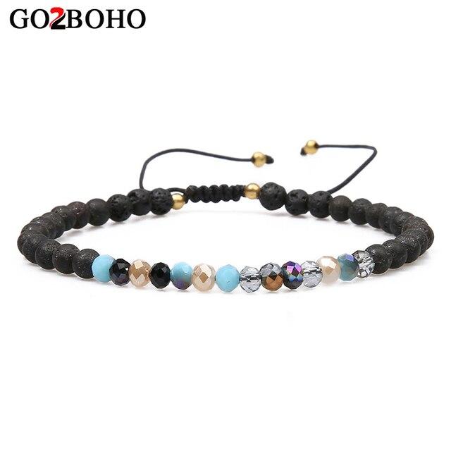 Go2boho Bracelets Women Bracelet Men Jewelry Pulseira Masculina Black Lava Stones Natural Crystal Beads Femme Beaded Friendship
