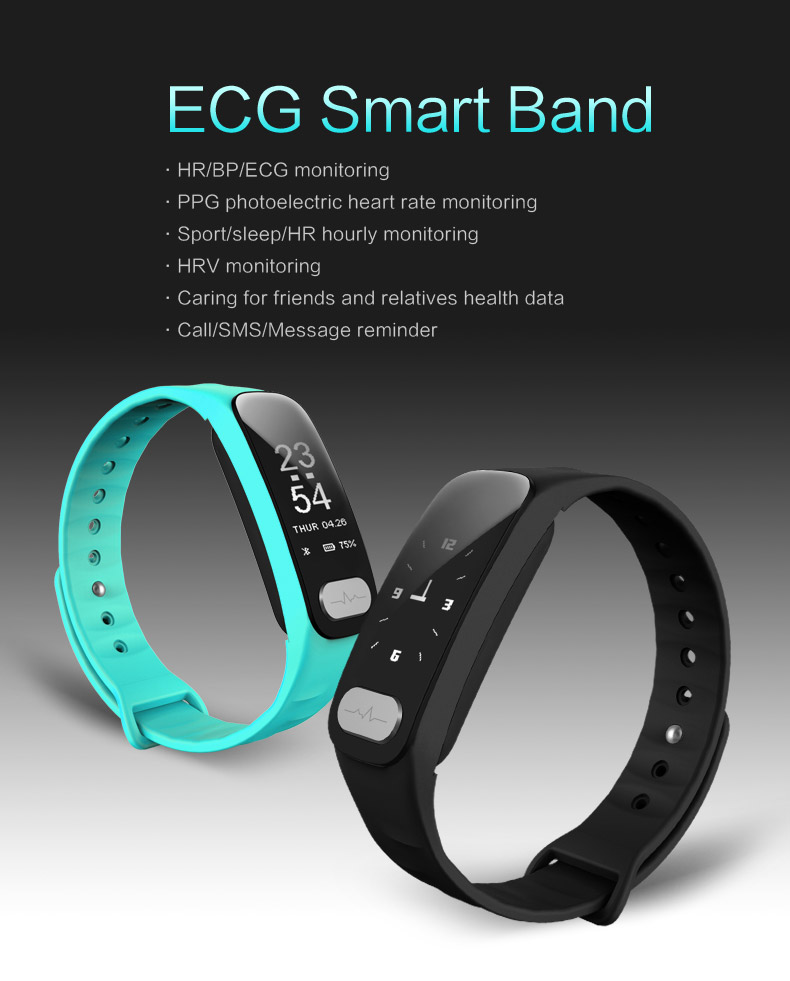 YourTribe R11 ECG font b Smart b font Band 0 96 inch Screen Heart Rate Blood