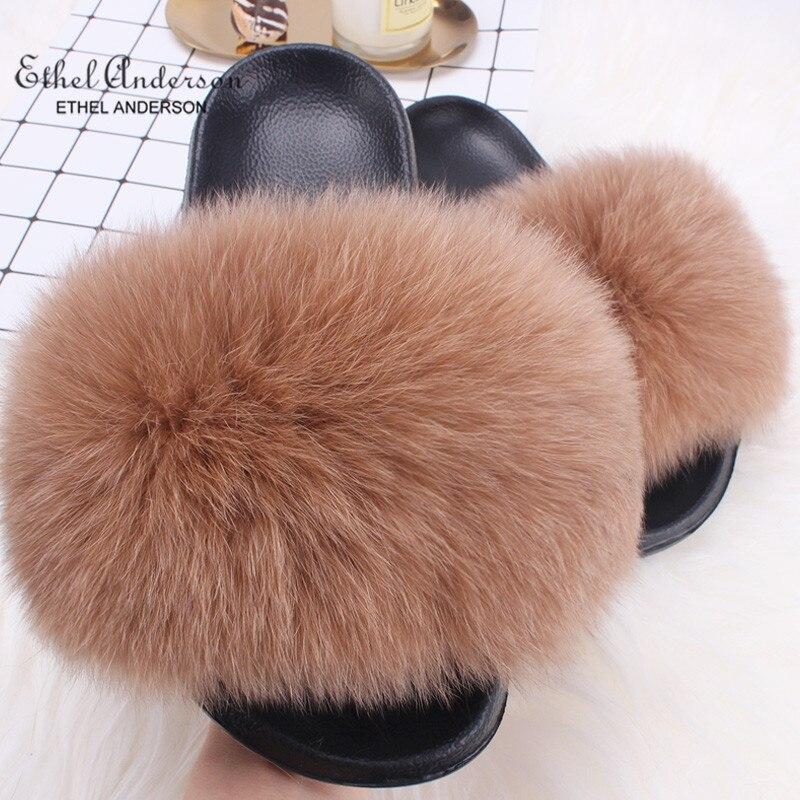 Ethel Anderson Real Plush Fox Fur Slides Women Summer Slippers Beach Fluffy 100% Real Raccoon Fur Flip Flops Sandals Shoes