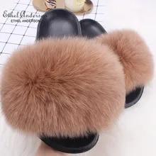 Getalty Kids Real Raccoon Fur Slippers Outdoor Slides Slip On Sandals MulticolorChildren Shoes S#08