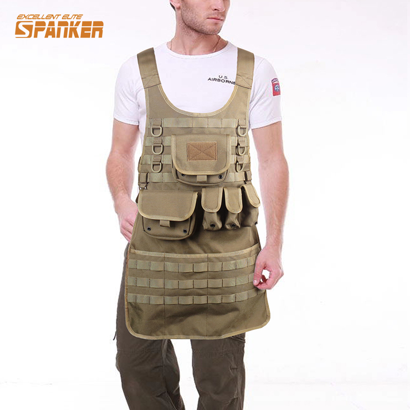 Tactical Brown Vest Molle Apron with Pockets Durable 1000D Nylon Military Work ApronTank Mechanic Chef Griling Vest how to cook with chef louie kids cookbooks box set with apron badges