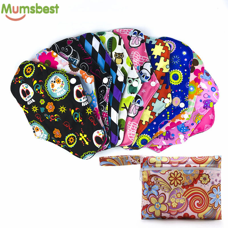 [Mumsbest] 10PCS Reusable Cloth Menstrual Pads+1Mini Wet Bag Bamboo Charcoal Maternity Pads Washable Sanitary Pads Random colors [mumsbest] 10pcs bamboo cotton washable cloth maternity pads menstrual reusable sanitary pads napkin waterproof panty liners