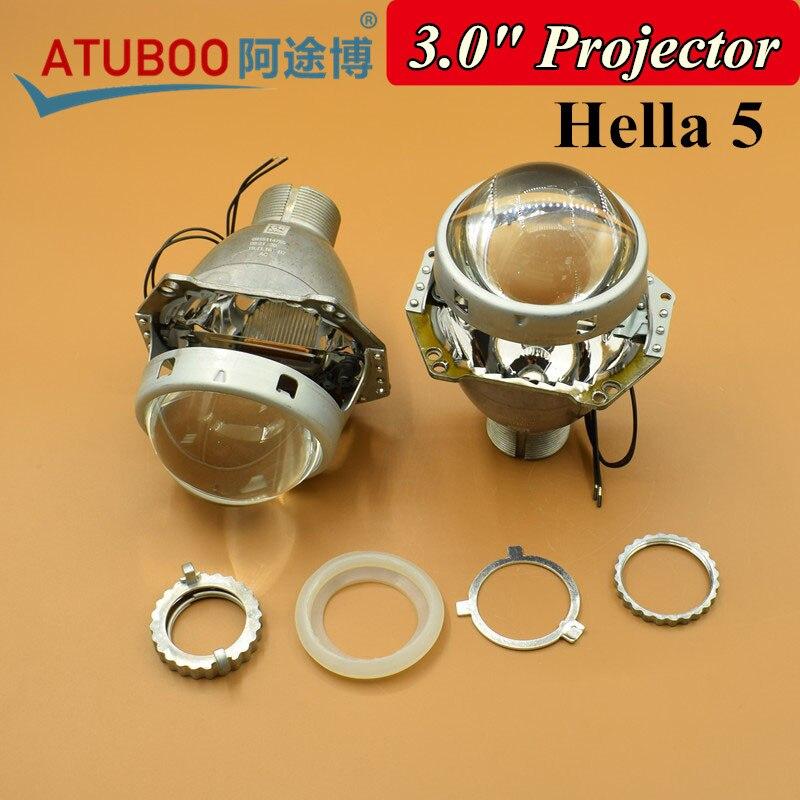 2pcs/Lot,Super Bright 3.0 Hella 5 Bi-xenon Projector lens for H4 Motorcycle Car Headlight Using D2H D2S Hid Xenon bulb