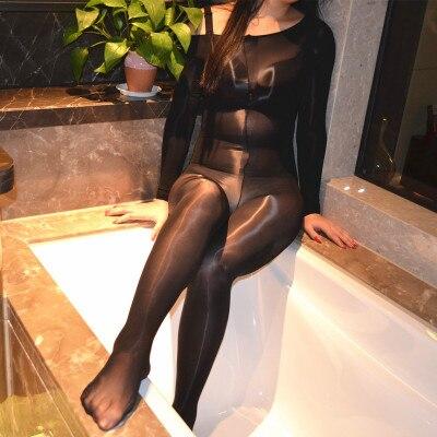 Caliente Sexy Lencería O cuello grasa medias para las mujeres Sexy pantimedias con entrepierna abierta, 8D delgada ropa interior body