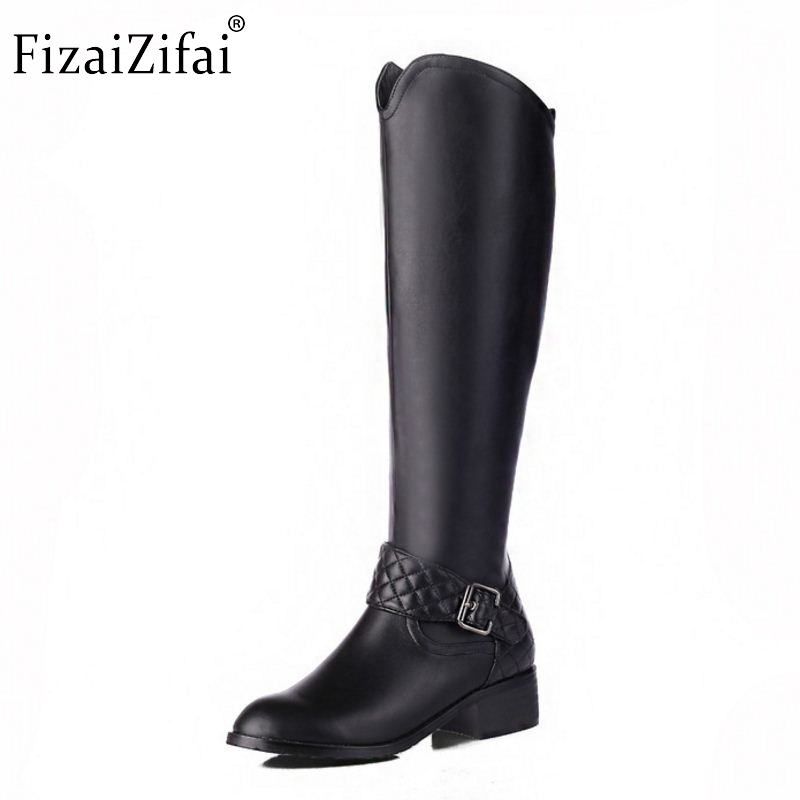 Women Genuine Leather Round Toe Knee Boots Woman Square Heel Zipper Botas New Knight Boots Woman Shoes Size 33-46Women Genuine Leather Round Toe Knee Boots Woman Square Heel Zipper Botas New Knight Boots Woman Shoes Size 33-46