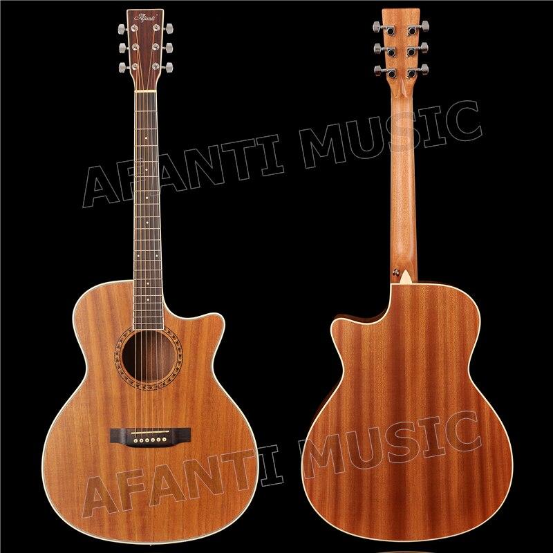 Haut Paulownia acoustique/solide de 41 pouces/dos et côtés Sapele/guitare acoustique AFANTI (AFA-900)