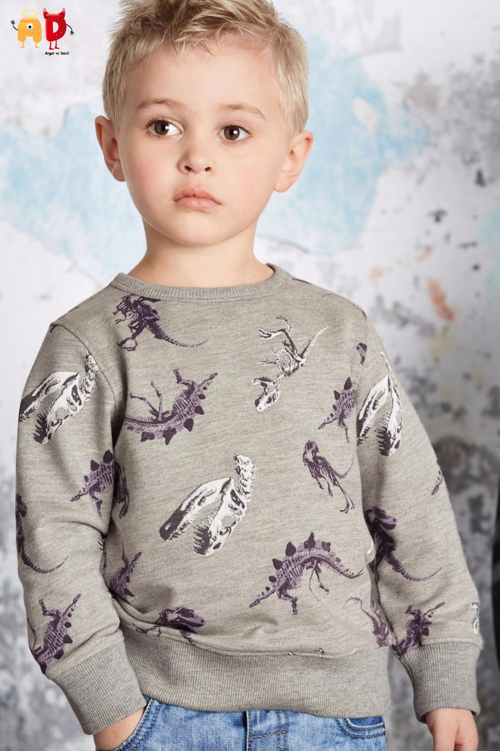 AD Cute Dinosaur Boys Sweatshirts Kids T-shirts Basic Clothes Spring Winter Childrens Clothing Tops Cotton Pullovers