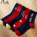 Fashion Character Cartoon Print Casual Cotton Socks Korean Men Sweat Deodorant Pure socks 5 Pairs/lot