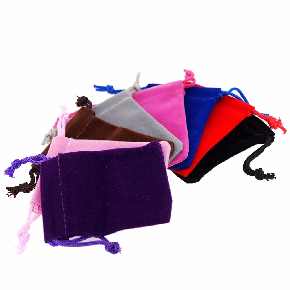 100pcs Velvet Pouches Drawstrings Soft Mixed Color Jewelry Gift Packing Bags 5x7cm 7x9cm 9x12cm
