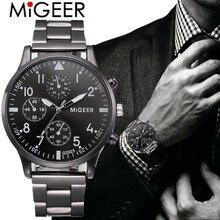 MIGEER Fashion Men Luxury Business Crystal Stainless Steel Analog Quartz Wrist