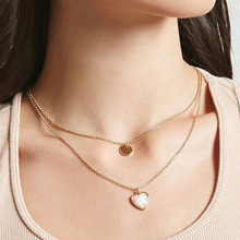 European and American Style Ladies Simple Love Heart Pattern Necklace Two Groups Choker Women