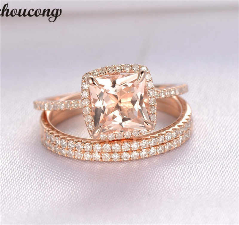 Choucong Unique 3 In 1 Ring Set Rose Gold Filled Zircon Cz