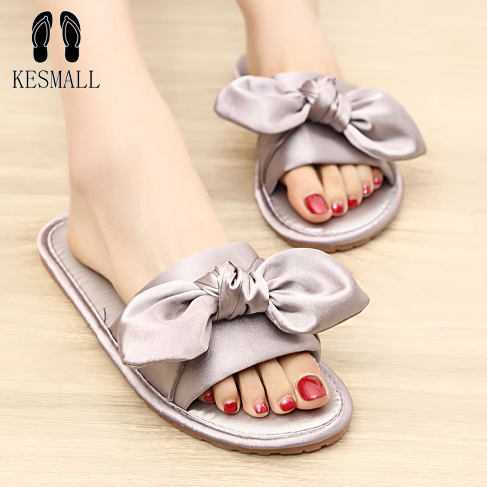KESMALL Women Shoes Flat Slippers Butterfly Knot Slip On Slides Beach Flat Slippers Casual Shoes Summer Sandals Comfortable