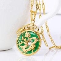 Exquisite Rotonda Ciondolo In Oro Giallo Riempito Modello Del Drago Collana Di Accessori Moda per Uomini/Donne