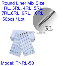 50pcs Sterilized Tattoo Needles Round Liner 1RL 3RL 5RL 7RL 9RL Mixed Assorted Supply TNRL-50#