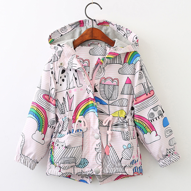 Girl Coats 2019 Hot Sale Spring Girl Clothes Rose Jackets Kids outerwear Children Jackets Girls Clothes Cartoon Print Outerwear