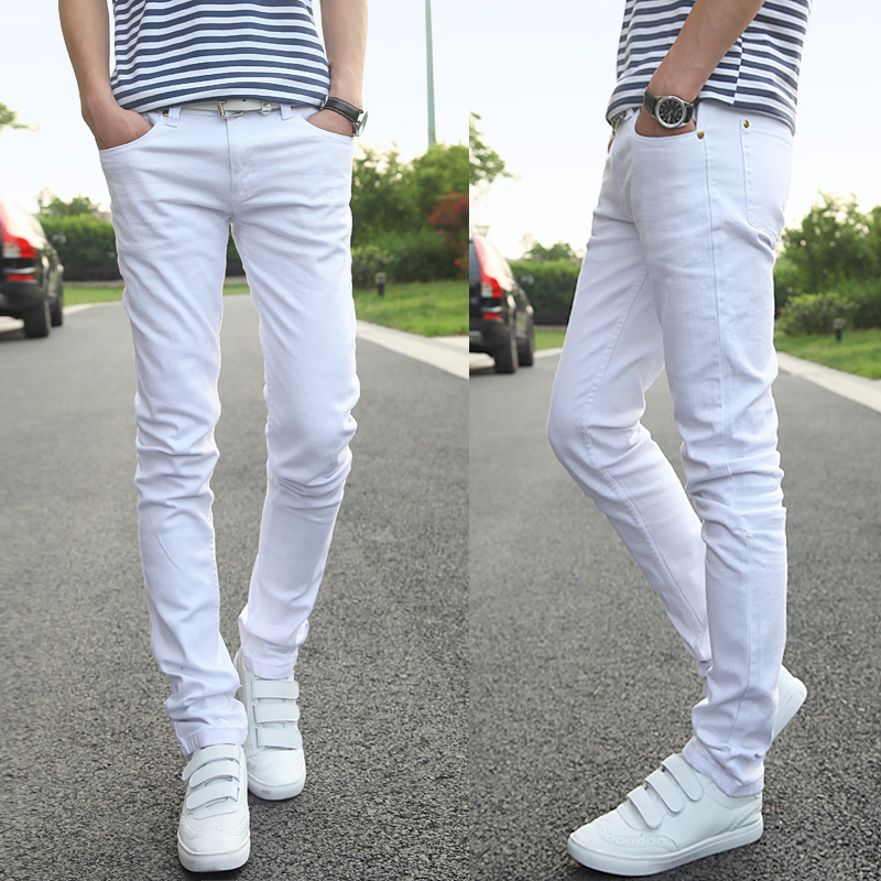 2018 Cotton Small Stretch White Mens Jeans 27 29 30 31 32 36 Youth Fashion Business Casu ...