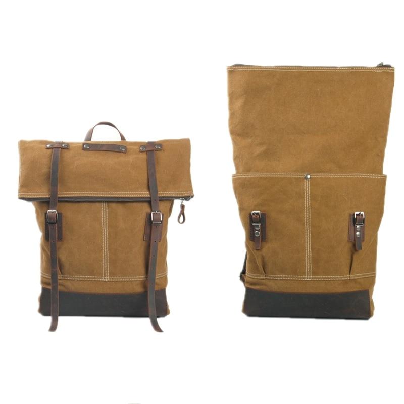 ФОТО mulitifunctional foldable folding genuine cowhide  big size student America school travel computer college laptop backpack bags
