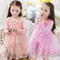Kids Girls Long Sleeve Dress with Tutu 2016 Autumn Lace Dresses with Flowers for Girls Princess Dress Clothes Vestido Pink White