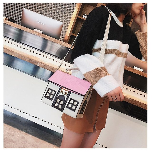 Women's Casual Handbag Cute Cartoon Fashion House Design Pu Leather Shoulder Bag Crossbody Messenger Bag Ladies Bolsa Handbag
