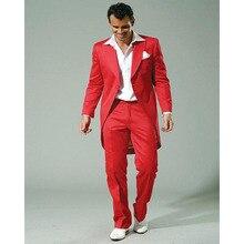 2017 new Stylish Red Mens Suits Long Jacket Best Men Suit For Wedding Handsome groom Men's Tuxedo terno masculino (Jacket+Pants)