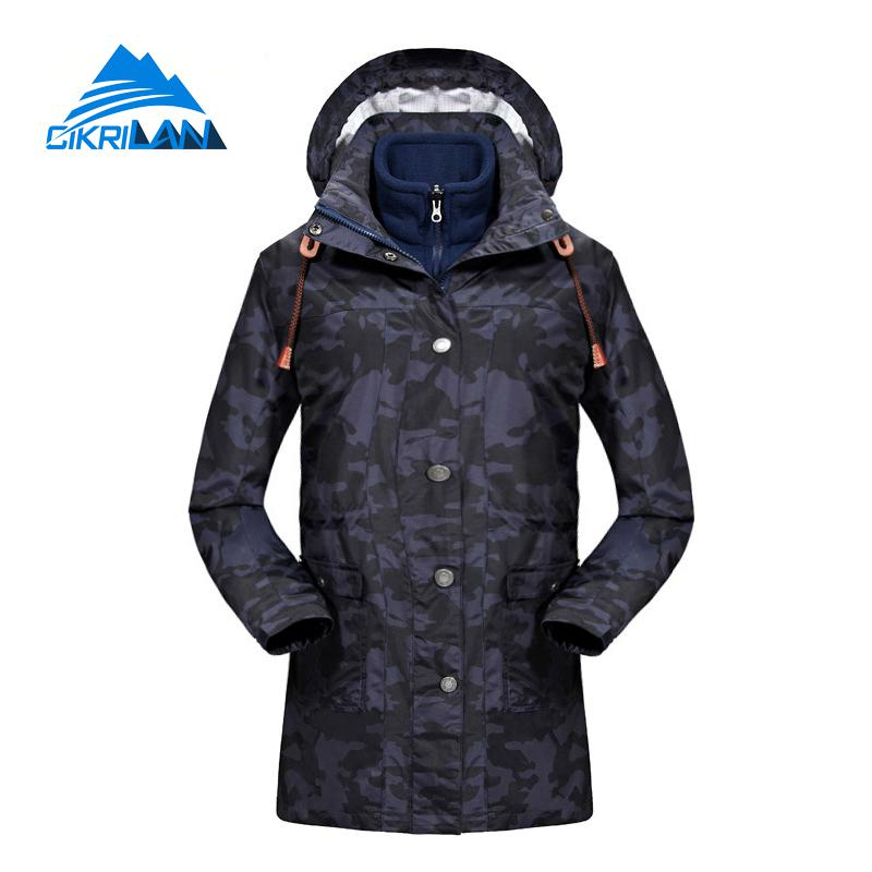 Mens Camo Long Winter 3in1 Sport Hiking Camping Outdoor Jacket Men Ski Windstopper Waterproof Coat Trekking Jaqueta Masculino