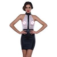 Halter Vinyl Mini Dress Women High Neck Vinyl Leather Wrapped Mini Dress White Mesh See Through Sexy Club Dress Vestidos XXL
