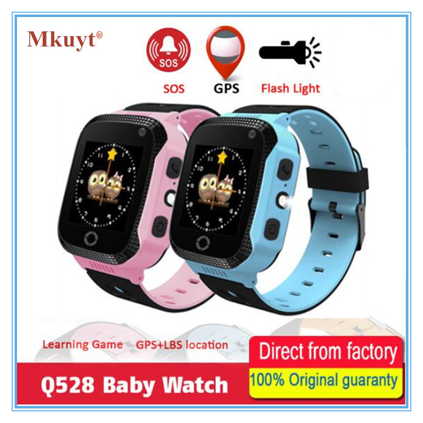 MKUYT Q528 Touch Screen GPS Children Kids Smart Watch With Camera Lighting Phone Location SOS Call Remote Monitor Pk Q50 Q90 Q80