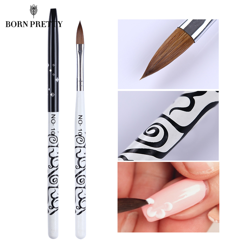 No. 10 Detachable Nail Art Acrylic Kolinsky Sable Brush Nail Tool For DIY #617