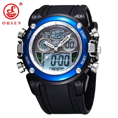OHSEN lcd Цифровые кварцевые мужские модные часы наручные часы relogio masculino красный Будильник Спорт Плавание Силиконовые часы Секундомер подарки - Цвет: BLUE