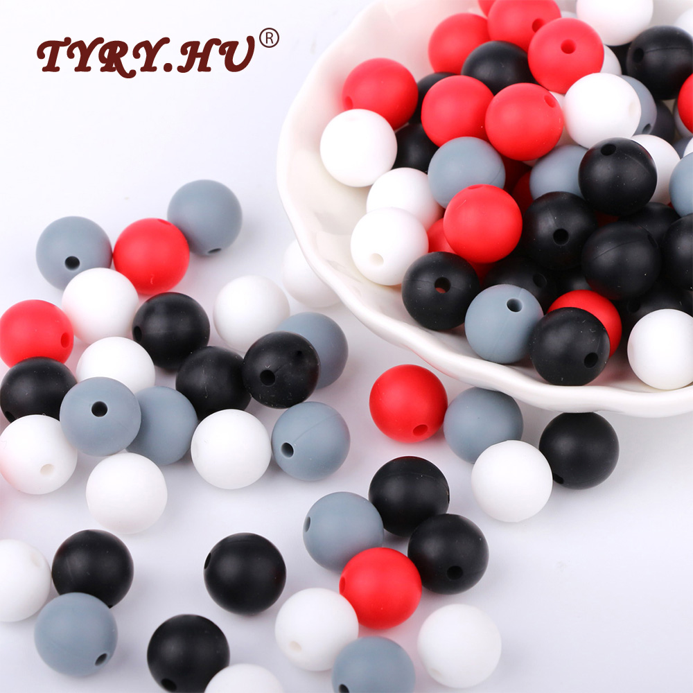 TYRY.HU 40Pcs Food Grade Silicone Beads 12mm Baby Teething Loose Beads Round Shaped BPA Free Necklace Pacifier Chain Accessories стоимость