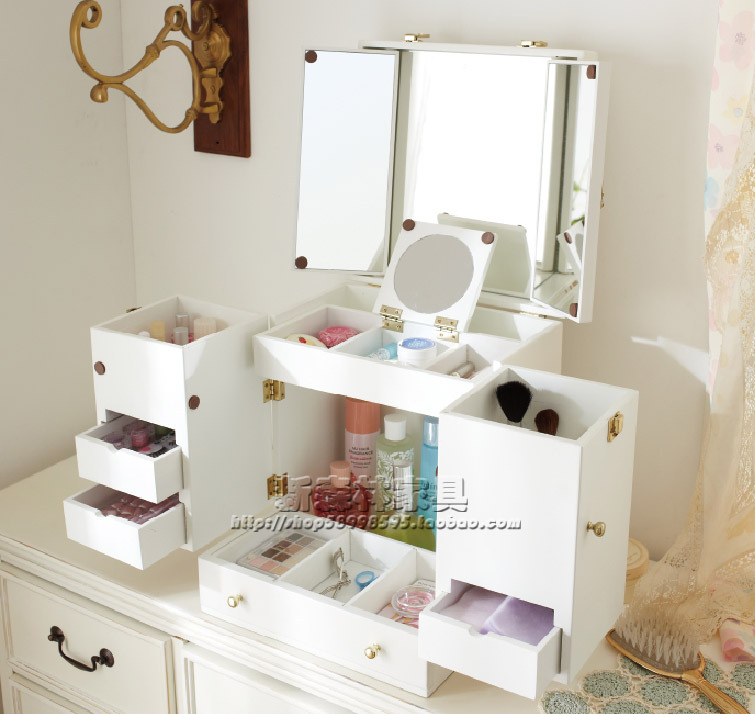 Ofhead Mirror Cabinet Jewelry Cosmetic Storage Box