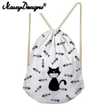NOISYDESIGNS Cartoon Cat Printing Women s Drawstring Backpack For Teenagers bags Bundle Pouch Sac Licorne day