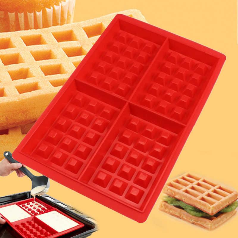 Food Grade Siliconen Wafel Schimmel DIY Wafel Chocolade Bakvorm Magnetron Cake Bakvormen Maker Pan Keuken Accessoires Benodigdheden