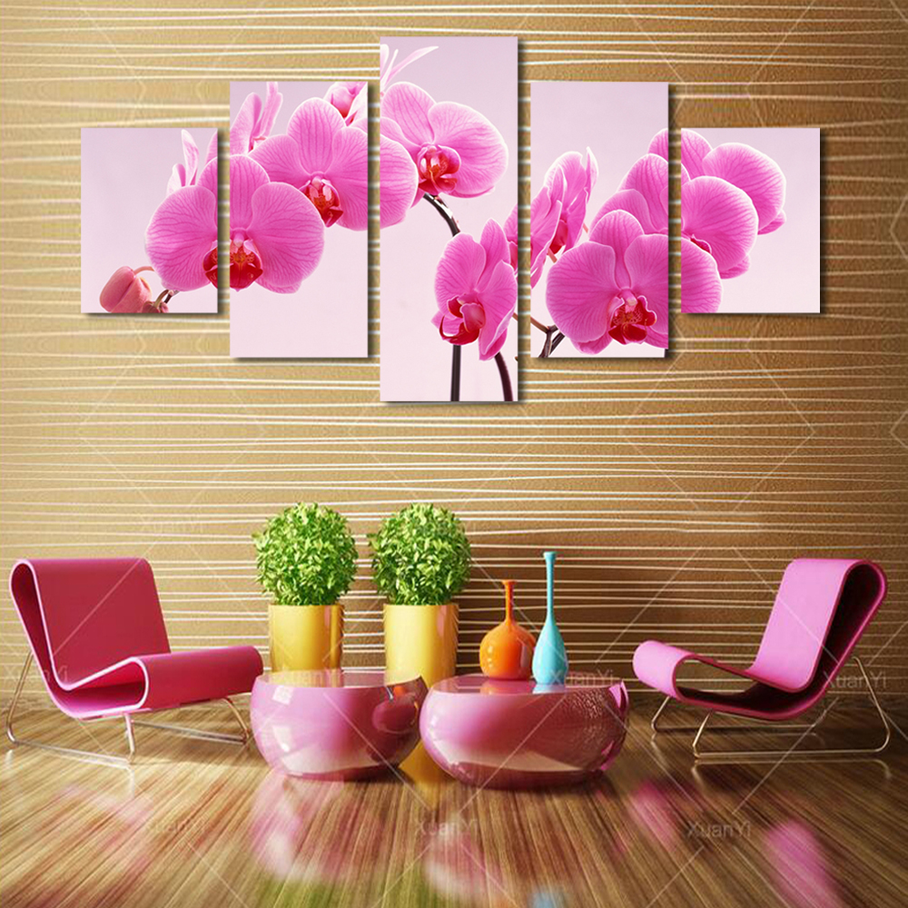 5 Panels Beautiful Warm Phalaenopsis Picture Canvas Print Painting ...